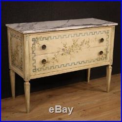 Commode laqué chiffonier en bois peint meuble dessus en marbre Louis XVI style