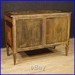 Commode meuble buffet italien bois incrusté 3 tiroirs style ancien Louis XVI