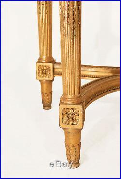 Console style Louis XVI en bois doré, Marbre Brèche grise, XIXème siècle