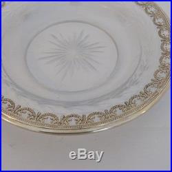 Coupe Plate De Service, Argent Massif Et Cristal Gravé, Style Louis XVI, XIX ème