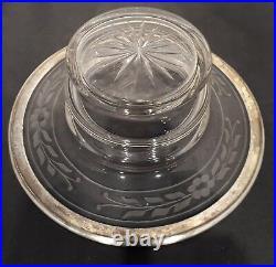 Coupe à caviar cristal et métal argenté style Louis XVI ruban croisé bonbonière