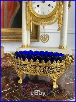 Coupelle Ancienne En Metal Doré De Style Louis XVI Avec Verrine Bleue