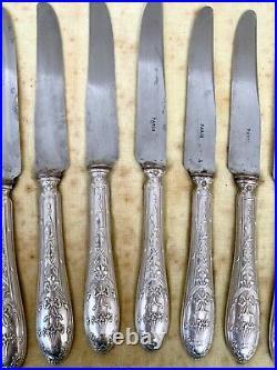 Couteaux en Argent fourré Style Louis XVI Coffret Ménagère XIXe siècle