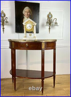 DESSERTE DEMI LUNE DU 19e DE STYLE LOUIS XVI EN ACAJOU MOUCHETÉ / DESSUS MARBRE