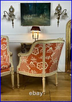 Deux Bergeres En Bois Sculpté Et Laqué De Style Louis XVI Avec Belle Tapisserie