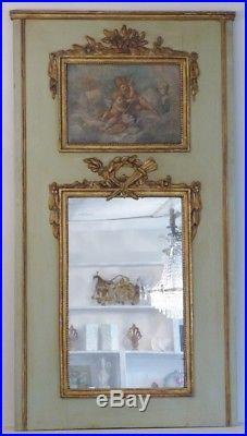 Elegant Trumeau De Style Louis XVI Aux Angelots Et Les Arts, époque XIX ème
