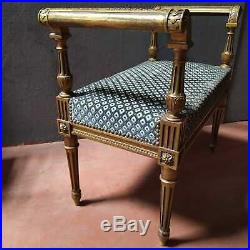 Élégante banquette 1900 de style Louis XVI doré