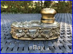 Encrier Style Louis XVI En Bronze Et Cristal Xixeme