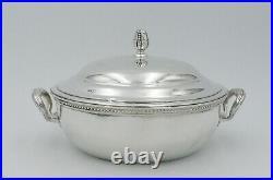 Ercuis beau légumier métal argenté style Louis XVI Rubans Perles, excellent état