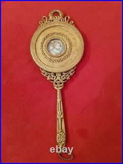 Face à main bronze doré, décor miniature style Louis XVI