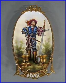 Faïence Choisy Le Roi Ancienne Applique Murale Style Louis XVI Décor Lansquenet
