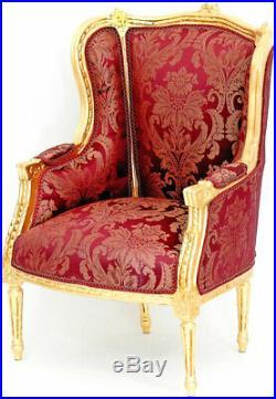 Fauteuil Bergere Style Louis XVI Baroque En Bois Hetre Dore Tissu Rouge