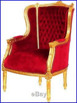 Fauteuil Bergere Style Louis XVI Baroque En Bois Hetre Dore Velours Rouge