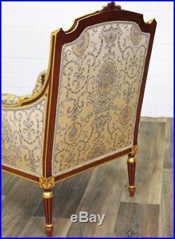 Fauteuil Bergere Style Louis XVI En Bois Hetre Brun Dore Siege Royal Trone