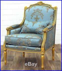 Fauteuil Bergere Style Louis XVI En Bois Hetre Dore Bleu Siege Royal Trone