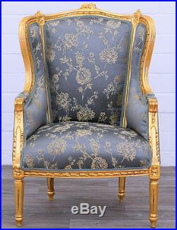 Fauteuil Bergere Style Louis XVI En Bois Hetre Dore Tissu Bleu Baroque Royal