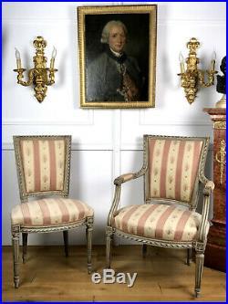 Fauteuil + Chaise Anciens Fin 19eme En Bois Laqué De Style Louis XVI