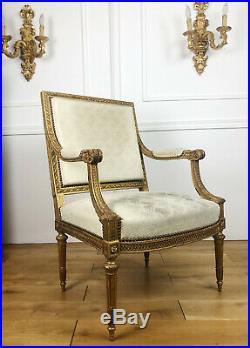 Fauteuil D'époque Napoléon III En Bois Doré Et Mouluré De Style Louis XVI