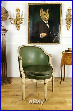 Fauteuil De Bureau Estampillé Gouffé De Style Louis XVI En Bois Et Dessus Cuir