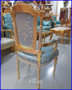 Fauteuil Marie Antoinette Style Louis XVI Siege En Bois Hetre Dore Et Bleu Royal