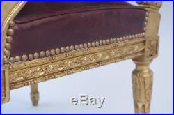 Fauteuil de style Louis XVI en bois doré et garniture en cuir, XIXème siècle