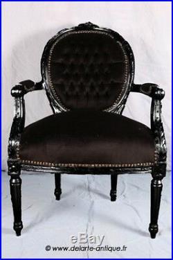Fauteuil de style Louis XVI noir bois noir