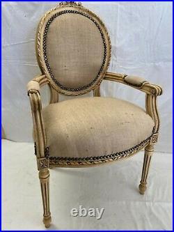 Fauteuil de style Louis XVI toile de jute