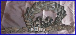 Fronton / ornement bois sculpté Couronne laurée noeud XXème style Louis XVI