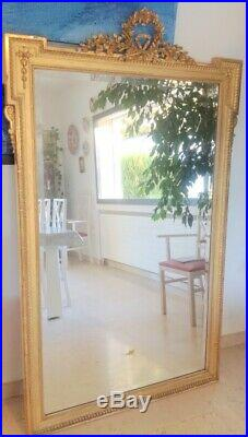 GRAND MIROIR 190x90 cm CADRE EN BOIS DORE STYLE LOUIS XVI Mirror golden wood