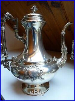 GRAND SERVICE style LOUIS XVI THE CAFE ARGENT MASSIF MINERVE 2,2 kg Orf. Flamand