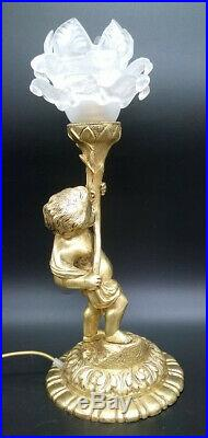 GRANDE LAMPE AU CHÉRUBIN / PUTTO, STYLE LOUIS XVI BRONZE & VERRE 32 cm