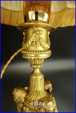GRANDE LAMPE AUX PUTTI ET CARQUOIS, STYLE LOUIS XVI BRONZE 52 cm