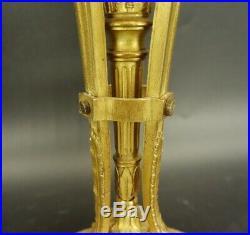 GRANDE LAMPE AUX ZÉPHYRS ET CARQUOIS, STYLE LOUIS XVI BRONZE 52 cm
