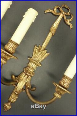 GRANDE PAIRE APPLIQUES NOEUDS & CARQUOIS, STYLE LOUIS XVI, 1900 BRONZE 38 cm