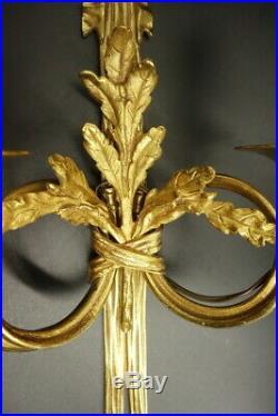 GRANDE PAIRE APPLIQUES, NOEUDS, STYLE LOUIS XVI BRONZE HETTIER VINCENT 42 cm