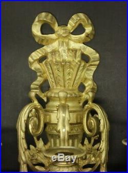 GRANDE PAIRE D'APPLIQUES 3 FEUX, STYLE LOUIS XVI, DU XIXe BRONZE 40,8 cm