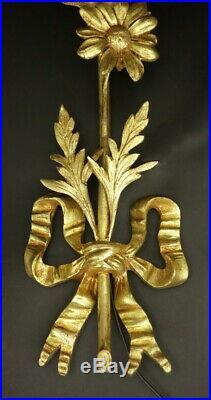 GRANDE PAIRE D'APPLIQUES, STYLE LOUIS XVI, DÉBUT 1900 BRONZE & VERRE 30,5 cm