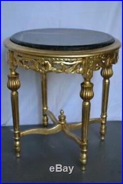 GUERIDON DE STYLE LOUIS XVI doré marbre noir