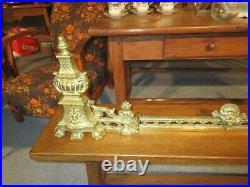 Garniture De Cheminee En Bronze Style Louis XVI 2 Chenets Et Une Barre De Foyer