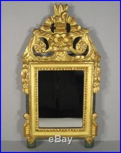 Glace Bois Doré Et Rechampi Style Louis XVI Fronton Ajouré / Miroir Louis XVI