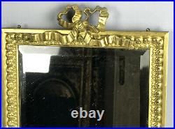 Glace / Miroir Ancien En Bronze Doré De Style Louis XVI Avec Miroir Biseauté