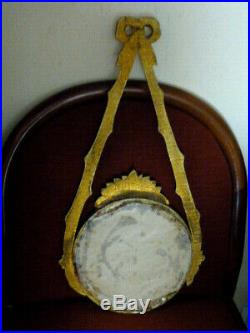 Glace / miroir ronde ancien style Louis XVI en bois doré rare très décorative