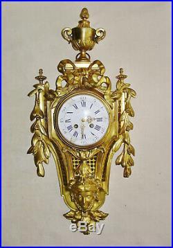 Grand Cartel D'applique Style Louis XVI En Bronze Du XIX Ème Siècle. Ht 62 CM