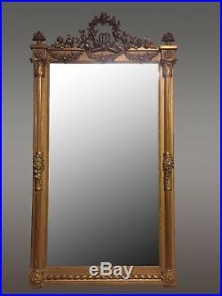 Grand Miroir Doré Style Louis XVI 1900