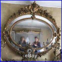 Grand Miroir Ovale Doré à Parecloses Ancien Style Louis XVI époque Napoléon III