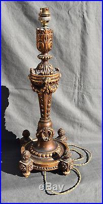 Grand Pied De Lampe En Bois Et Stuc Dore Style Louis XVI Epoque 1900
