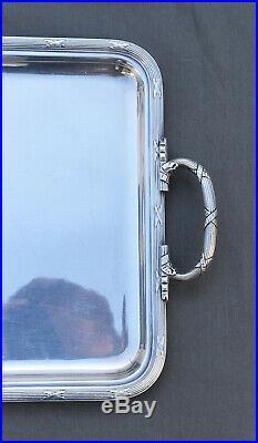 Grand Plateau De Service Metal Argente Christofle Style Louis XVI Rubans Croises