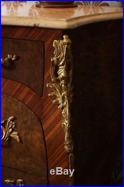 Grand Splendid Chiffonnier Commode Style Baroque Louis XV Plateau De Marbre E8-1
