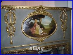 Grand Trumeau Ancien Style Louis XVI Gris Et Dore