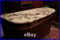 Grand buffet enfilade acajou massif plateau marbre style Louis XVI signé Mercier